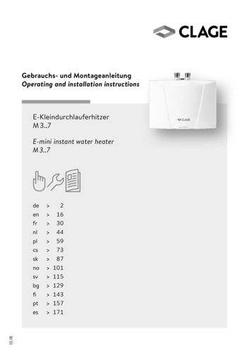 M / END · Mini instantaneous water heater with tap · CLAGE com